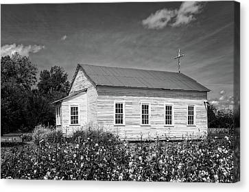 Church At Frogmore Plantation  -  Bw Canvas Print by Frank J Benz