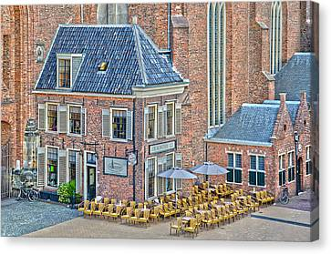 Church Cafe In Groningen Canvas Print by Frans Blok