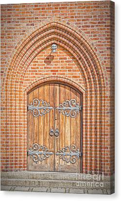 Medieval Temple Canvas Print - Church Doors In Helsingor by Antony McAulay