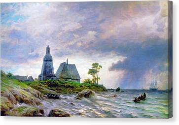 Impressionism Canvas Print - Church House By The Sea by Georgiana Romanovna
