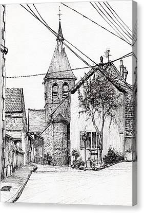 Wine Scene Canvas Print - Church In Laignes by Vincent Alexander Booth