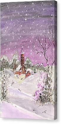 Canvas Print featuring the digital art Church In The Snow by Darren Cannell