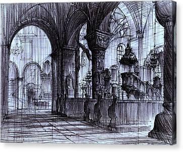 Church Interior In Strzelno Poland Canvas Print by Krystian  Wozniak