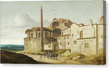 Horse And Buggy Canvas Print - Church Of Santa Maria Della Febbre - Rome by Pieter Jansz Saenredam