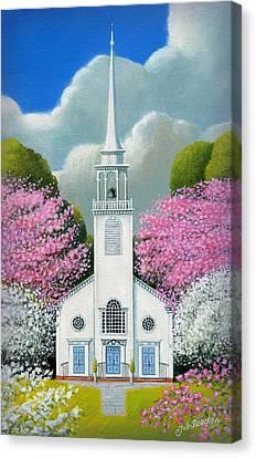 Church Of The Dogwoods Canvas Print by John Deecken