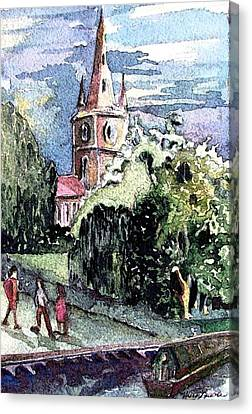 Watercolor Canvas Print - Church Of William Shakespeare by Mindy Newman