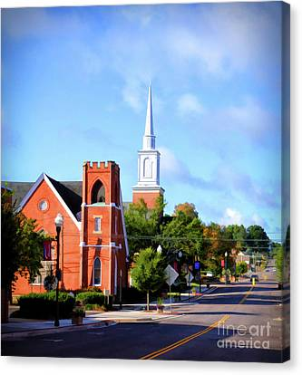 Canvas Print featuring the photograph Church On Main Street - Christiansburg Virginia  by Kerri Farley