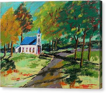 Canvas Print featuring the painting Church On The Bend Landscape by John Williams