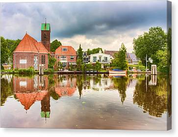 Church Reflections Canvas Print by Nadia Sanowar