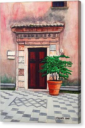 Church Side Door - Taormina Sicily Canvas Print by Mike Robles