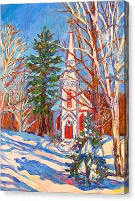 Church Snow Scene Canvas Print