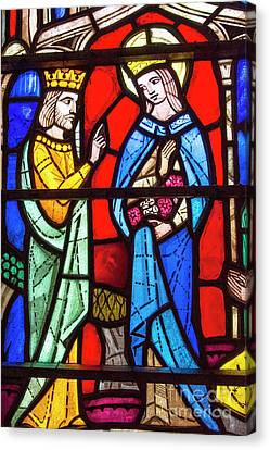 Church Stained Glass Window Canvas Print by Juli Scalzi