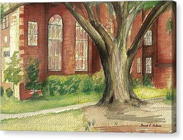 Canvas Print featuring the painting Church Tree by Denise Fulmer