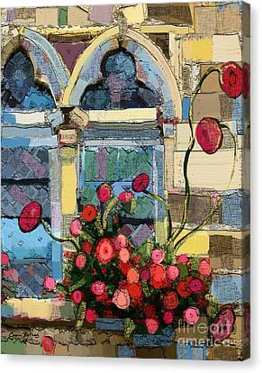 Church Window Canvas Print by Carrie Joy Byrnes