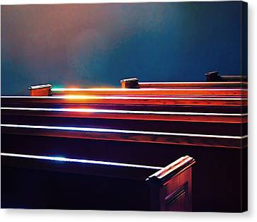 Churchlight -- Pews Under Stained Glass Canvas Print