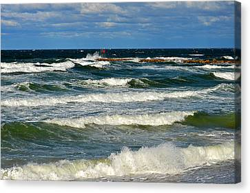 Churning Sea At Sesuit Harbor - Cape Cod Canvas Print by Dianne Cowen