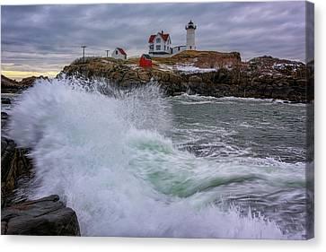Cape Neddick Lighthouse Canvas Print - Churning Seas At Cape Neddick by Rick Berk