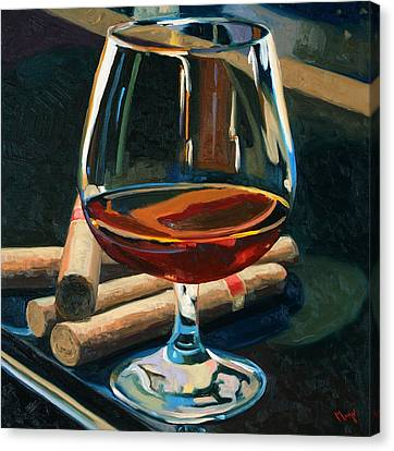 Wine Bottle Canvas Print - Cigars And Brandy by Christopher Mize