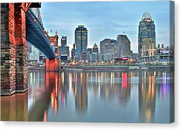 Cincinnati At Dusk Canvas Print by Frozen in Time Fine Art Photography