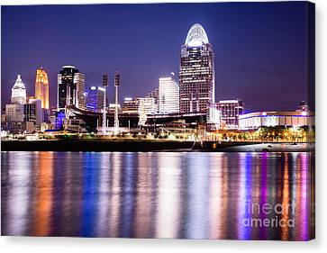 Cincinnati At Night Downtown City Buildings Canvas Print by Paul Velgos