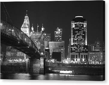 Suspension Canvas Print - Cincinnati At Night by Russell Todd