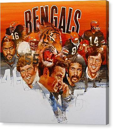 Canvas Print featuring the painting Cincinnati Bengals by Cliff Spohn