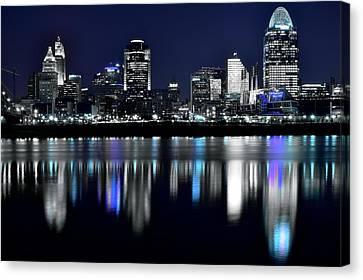 Cincinnati Black And White Lights In The Night Canvas Print