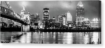 Cincinnati Downtown Skyline Panorama Black And White Canvas Print by Gregory Ballos