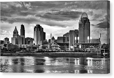 Cincinnati Evening Home Game Black And White Canvas Print by Mel Steinhauer