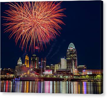 Cincinnati Fireworks Canvas Print by Scott Meyer