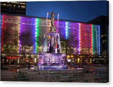 Cincinnati Fountain Square Canvas Print by Scott Meyer