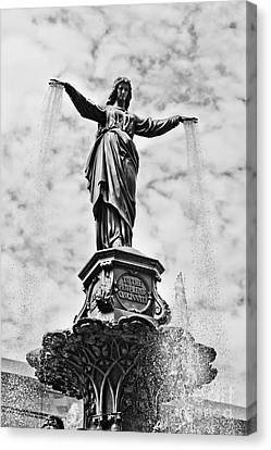 Bronze Canvas Print - Cincinnati Fountain Tyler Davidson Genius Of Water Statue by Paul Velgos