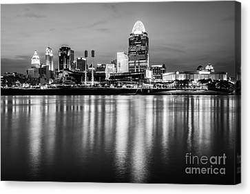 Ballpark Canvas Print - Cincinnati Night Skyline Black And White Photo by Paul Velgos