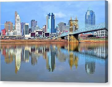 Cincinnati Ohio Times Two Canvas Print by Frozen in Time Fine Art Photography