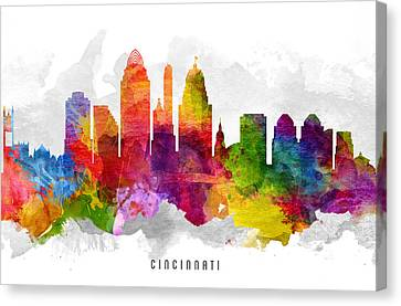 Cincinnati Ohio Cityscape 13 Canvas Print by Aged Pixel