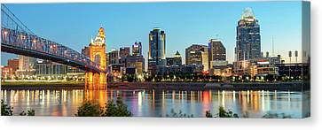 Skylines Canvas Print - Cincinnati Ohio Evening Skyline Panorama In Color by Gregory Ballos