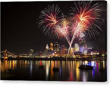 Cincinnati Reds Fireworks  Canvas Print