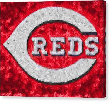 Baseball Canvas Print - Cincinnati Reds On Canvas by Dan Sproul
