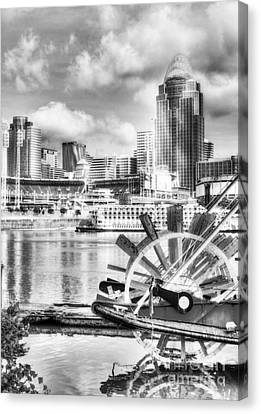 Cincinnati River Days Bw Canvas Print by Mel Steinhauer