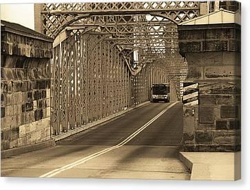 Cincinnati - Roebling Bridge 1 Sepia Canvas Print by Frank Romeo