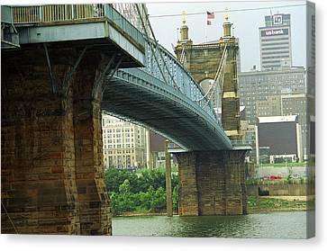 Cincinnati - Roebling Bridge 2 Canvas Print by Frank Romeo
