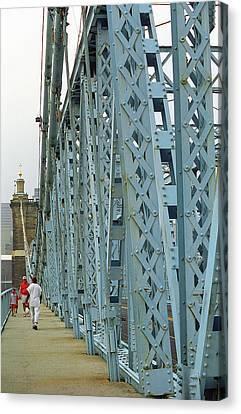Cincinnati - Roebling Bridge 3 Canvas Print by Frank Romeo