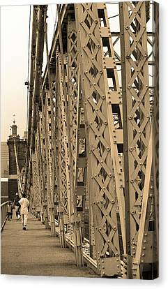 Cincinnati - Roebling Bridge 3 Sepia Canvas Print by Frank Romeo