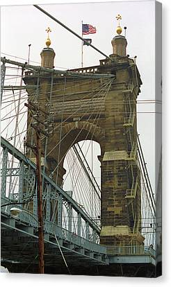 Cincinnati - Roebling Bridge 4 Canvas Print by Frank Romeo