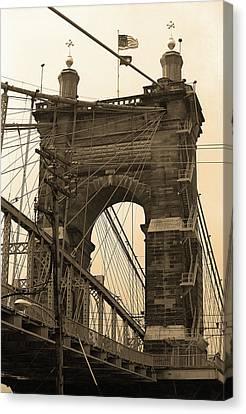 Cincinnati - Roebling Bridge 4 Sepia Canvas Print by Frank Romeo