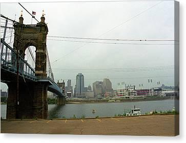 Cincinnati - Roebling Bridge 7 Canvas Print by Frank Romeo