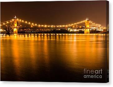Cincinnati Roebling Bridge At Night Canvas Print by Paul Velgos