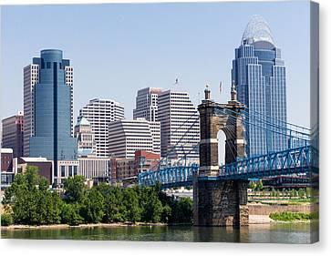 Cincinnati Skyline And John Roebling Bridge Canvas Print by Paul Velgos