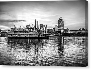 Ballpark Canvas Print - Cincinnati Skyline And Riverboat In Black And White by Paul Velgos