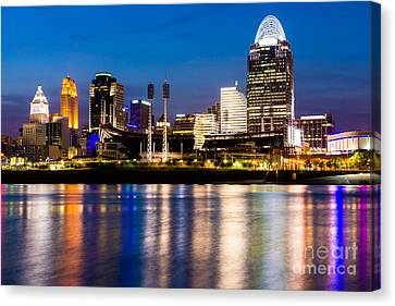 Cincinnati Skyline At Night  Canvas Print by Paul Velgos